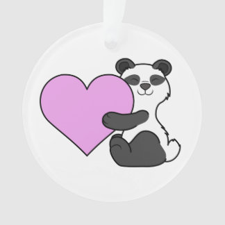 Valentine's Day Panda Bear with Light Pink Heart Ornament
