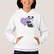 Valentine's Day Panda Bear with Light Purple Heart Hoodie