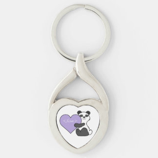 Valentine's Day Panda Bear with Light Purple Heart Keychain
