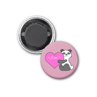 Valentine's Day Panda Bear with Pink Heart 1 Inch Round Magnet