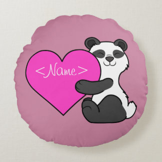 Valentine's Day Panda Bear with Pink Heart Round Pillow