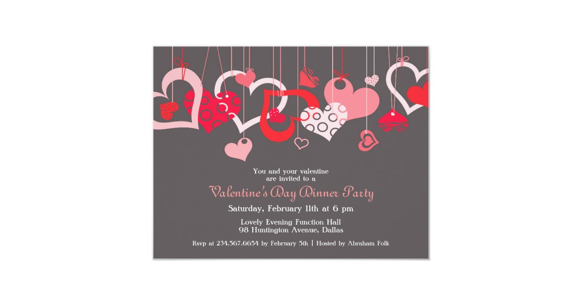 Valentine\'s Day Party Invitation Flat Card | Zazzle.com