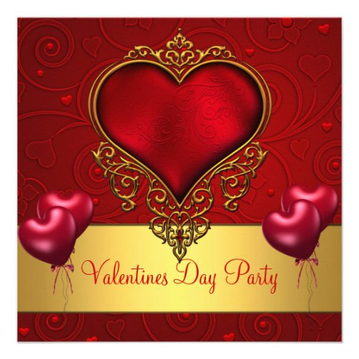 Valentines Day Party Red Love Heart Balloons 2 Announcements