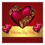 Valentines Day Party Red Love Heart Balloons Custom Announcement