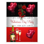 Valentines Day Party  Red Roses Balloons 2 Custom Announcement