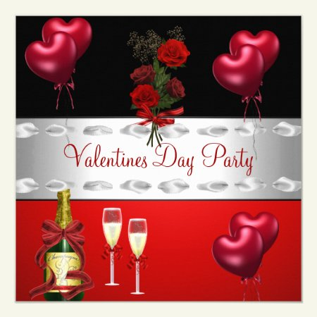 Valentines Day Party  Red Roses Balloons Card