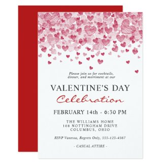Valentine's Day Party with Red Hearts Invitation