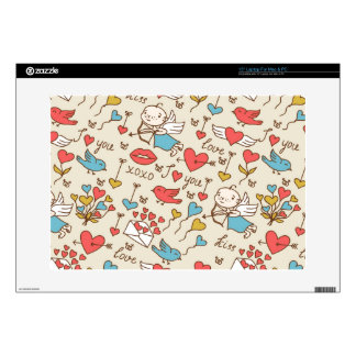 Valentine's Day Pattern with Cupid Laptop Decal