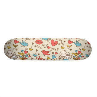 Valentine's Day Pattern with Cupid Skateboard Deck