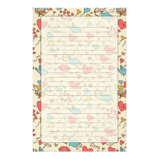 Valentine's Day Pattern with Cupid Stationery