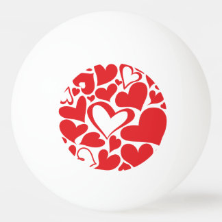 Valentine's Day pattern with red hearts Ping-Pong Ball