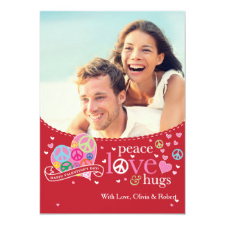 Valentine's Day Peace Love and Hugs Card