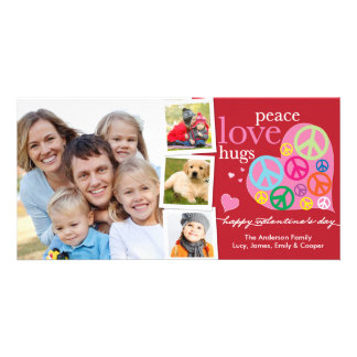 Valentine's Day Peace Love Hugs Red Photo Card