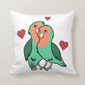Valentine's Day Peach Faced Love Birds with Hearts Throw Pillow