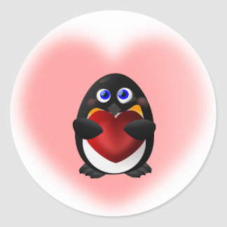 Valentine's Day Penguin with Heart Classic Round Sticker