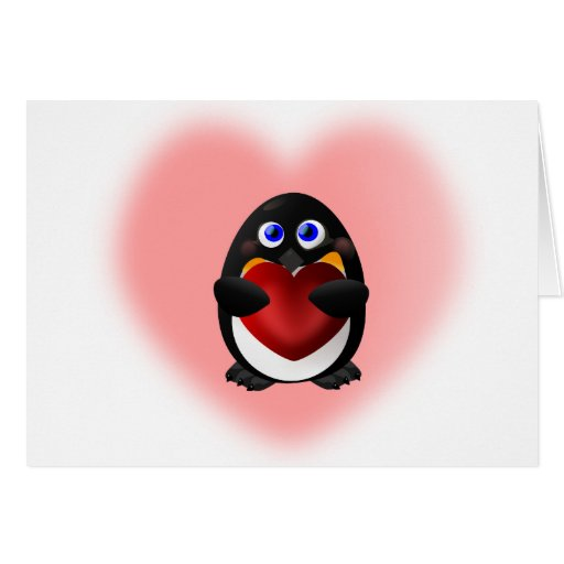 Valentine's Day Penguin with Heart Greeting Card