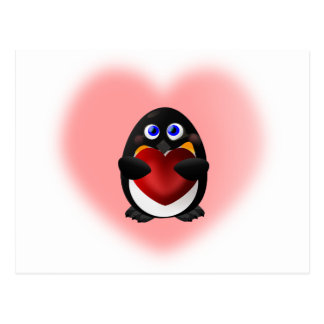 Valentine's Day Penguin with Heart Postcard