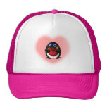 Valentine's Day Penguin with Heart Trucker Hat
