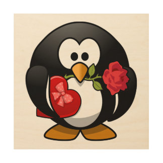 Valentine's Day Penguin Wood Wall Art