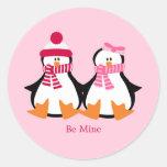 Valentines Day Penguins Classic Round Sticker