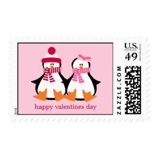 Valentines Day Penguins Stamp