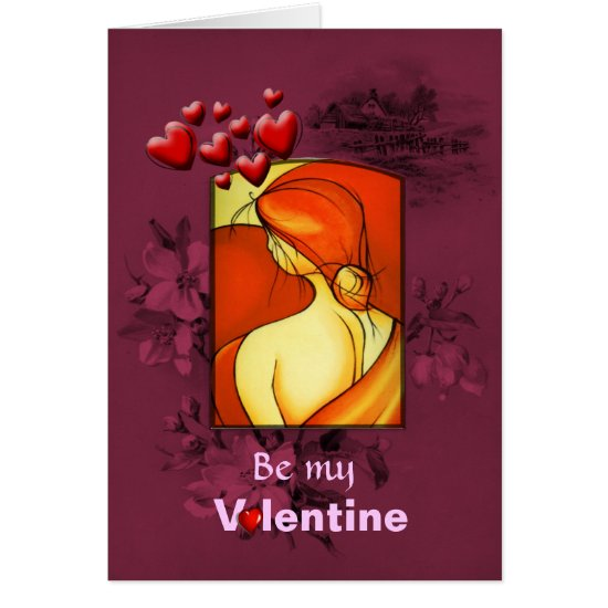 Valentines Day Pensive Lady in Orange Card