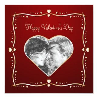 """Valentine's Day personalized photo card 5.25"""" Square Invitation Card"""
