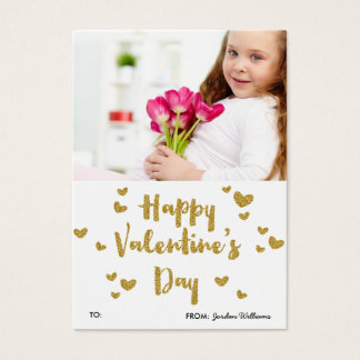 Valentine's Day Photo Glittery Gold Classroom Business Card