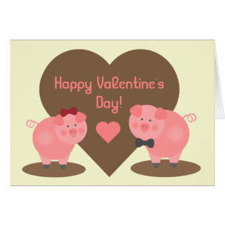 Valentine's Day - Pigs in the Mud Greeting Card