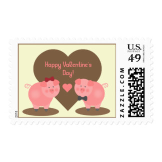 Valentine's Day - Pigs in the Mud Postage Stamp