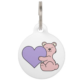 Valentine's Day Pink Bear - Light Purple Heart Pet Name Tag