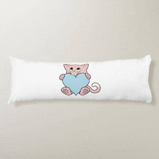 Valentine's Day Pink Cat with Light Blue Heart Body Pillow ...