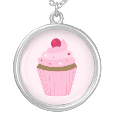Valentines Day Pink Cupcake Silver Plated Necklace at Zazzle