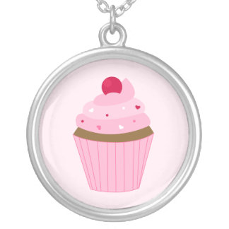 Valentines Day Pink Cupcake Silver Plated Necklace