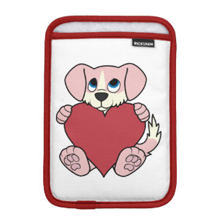Valentine's Day Pink Dog with Blaze & Red Heart Sleeve For iPad Mini