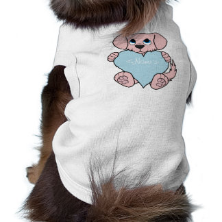 Valentine's Day Pink Dog with Light Blue Heart T-Shirt