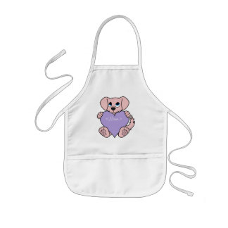 Valentine's Day Pink Dog with Light Purple Heart Kids' Apron