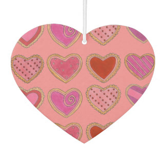 Valentine's Day Pink Frosted Heart Sugar Cookies Car Air Freshener