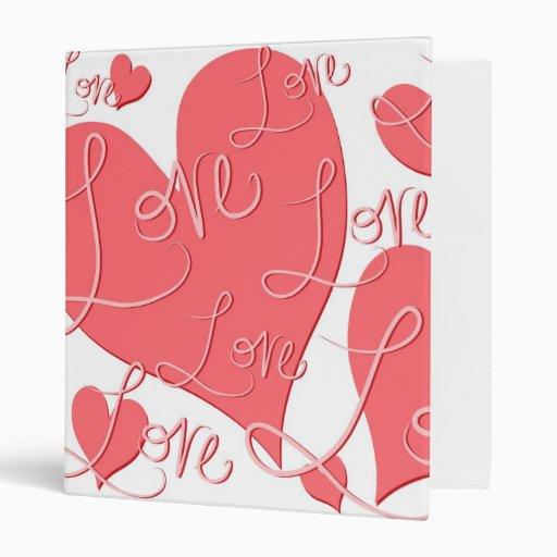 Valentine's Day Pink Hearts Love Binder