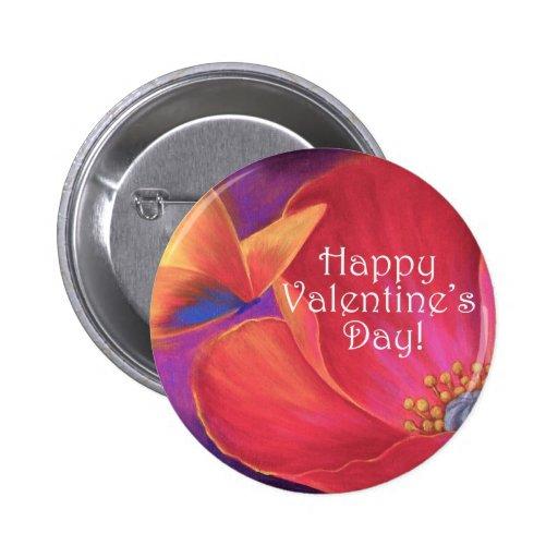Valentine's Day Pink Poppy Butterfly - Multi 2 Inch Round Button