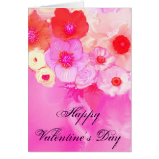 VALENTINE'S DAY PINK RED ROSES, ANEMONE FLOWERS CARD