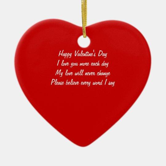 Valentine's day poem ceramic ornament