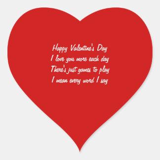Valentine's day poem heart sticker