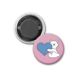 Valentine's Day Polar Bear with Blue Heart 1 Inch Round Magnet