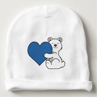 Valentine's Day Polar Bear with Blue Heart Baby Beanie