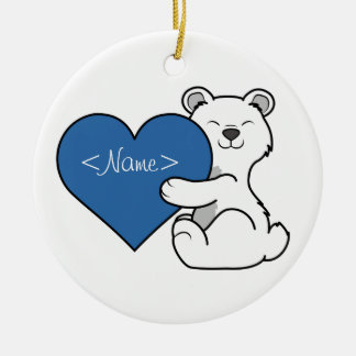 Valentine's Day Polar Bear with Blue Heart Ceramic Ornament