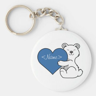 Valentine's Day Polar Bear with Blue Heart Keychain