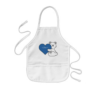 Valentine's Day Polar Bear with Blue Heart Kids' Apron