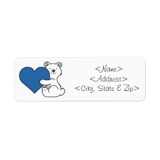 Valentine's Day Polar Bear with Blue Heart Label