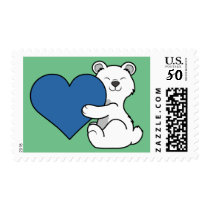 Valentine's Day Polar Bear with Blue Heart Postage